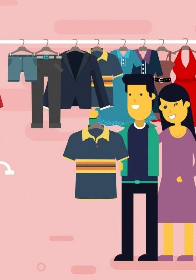 shopping_drawing_couple_clothes_store_icons_colored_cartoon_6834325